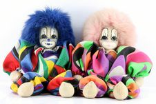 Free Two Clown Dolls Sitting Stock Photography - 16738282