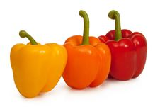 Free Three Bell Peppers On White Backgound Stock Images - 16739084