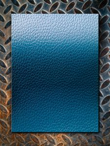 Free Blue Leather Texture On Grunge Steel Plate Royalty Free Stock Photo - 16739235