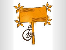 Free Orange Floral Sign With Grunge Stock Photography - 16739362