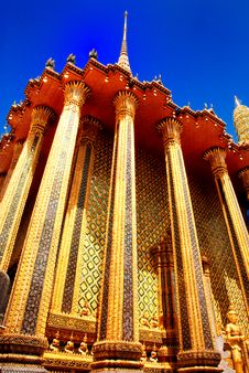 Pole Main Grand Hall At Wat Pra Kaew Stock Images