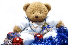 Soft Bear With Christmas Decorations Royalty Free Stock Image
