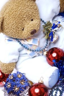 Soft Bear With Christmas Decorations Royalty Free Stock Images