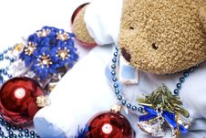 Soft Bear With Christmas Decorations Stock Photography