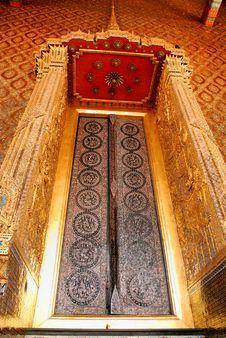 Door At Main Stupa At Wat Pra Kaew Royalty Free Stock Image