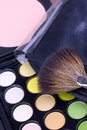 Free Make-up Brush On Multicolour Eyeshadows Palette Royalty Free Stock Images - 16746039