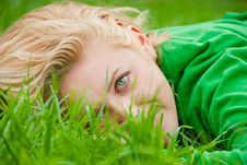Free Young Blonde Lying In A Grass Royalty Free Stock Image - 16740876