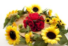 Roses With Sunflowers Stock Photography