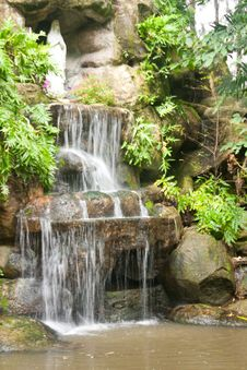 Waterfall In The Garden. Royalty Free Stock Photos