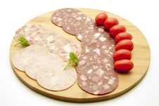 Free Sausage Plate With Tomatoes Stock Photo - 16741450