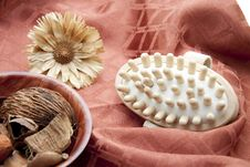 Massage Brush With Flower Stock Photo