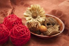 Dry Flower With Potpourri Stock Photo