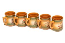 Free Five Large Ceramic Mugs In Red Lined Stock Images - 16742114
