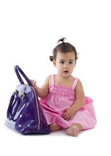 Free Cute Little Girl With Purse Royalty Free Stock Photos - 16743468