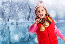 Free Little Girl With Christmas Balls Royalty Free Stock Photos - 16743688