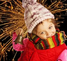 Free Little Girl At Christmas Night Royalty Free Stock Images - 16743759