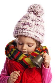 Little Girl Listening Christmas Bell Stock Photos