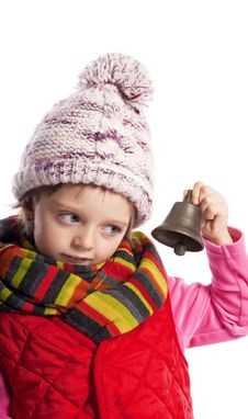 Little Girl With Christmas Bell Stock Photo
