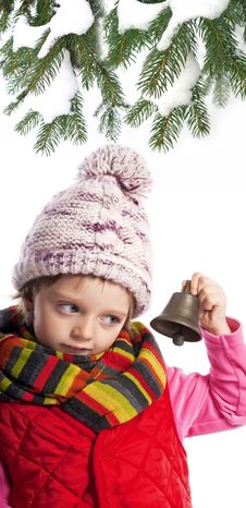 Free Little Girl With Christmas Bell Royalty Free Stock Photos - 16743908