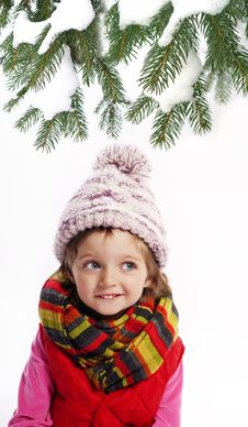 Free Little Girl Wearing Winter Clothes And Spruce Tree Royalty Free Stock Photography - 16744037