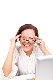 Happy Businesswoman In Glasses In Office Stock Images