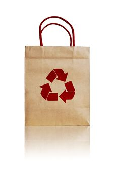 Free Brown Shopping Bag With Recycle Symbol Stock Image - 16744761