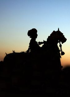 Festival Man On Horse Silhoutte Royalty Free Stock Image