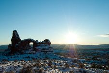 Free Sun Over Turret Arch In Arches National Park Stock Images - 16745454