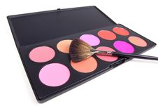 Free Make-up Brush On Eyeshadows Palette Royalty Free Stock Image - 16745456