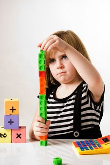 Free Girl With Counting Blocks Stock Images - 16746694