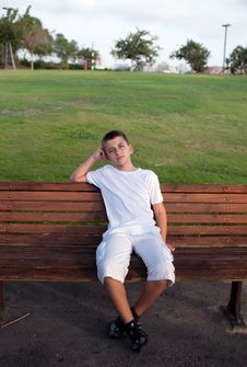 Free Schoolboy  Sitting On Bench  . Stock Photos - 16747163