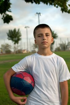 Free Boy With A Soccer Ball. Royalty Free Stock Photos - 16747248
