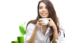 Free Beautiful Woman  In Cafe Royalty Free Stock Image - 16748736