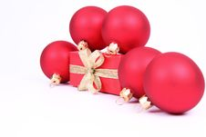 Free Christmas Balls And Gift Background Stock Image - 16748901