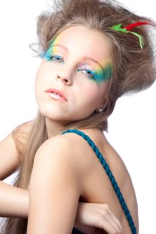 Free Beautiful Woman  With Color Makeup Stock Photo - 16748950