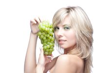 Young Girl With Grape Royalty Free Stock Images
