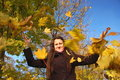 Free Girl And Falling Leaves Stock Photo - 16750460