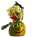 Free Pumpkin And Funny Halloween Flying On Broomstick Stock Photo - 16753360