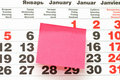 Free Post-It Note On Calendar Stock Image - 16758001
