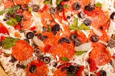 Free Raw Pizza With Vegetables And Pepperoni Stock Photos - 16750053