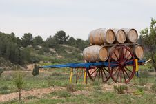 Free Barrels On A Wooden Cart Stock Photography - 16750182