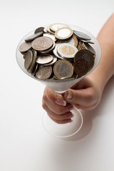 Free Coins In A Glass Royalty Free Stock Images - 16750519