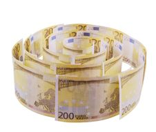 Spiral Of 200 Euro Banknotes Royalty Free Stock Image