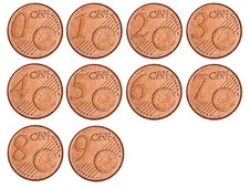 Set Of Modified Coins Of Euro Cents Royalty Free Stock Image