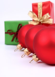 Christmas Balls And Gifts Background Stock Photography