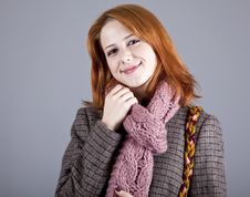Portrait Of Beautiful Red-haired Girl In Coat. Stock Photos
