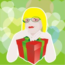 Free Girl With Glasses And With Gift Box Stock Photo - 16752380
