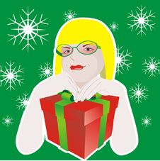 Free Girl With Glasses And With Gift Box Stock Images - 16752384