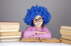 Young Blue-haired Girl With Books. Stock Photography