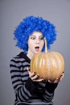 Free Funny Girl With Blue Hair Keeping Pumpkin. Stock Images - 16752614